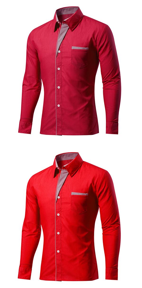 Mens Fashion Casual Stitching Color Slim Fit Designer Shirts