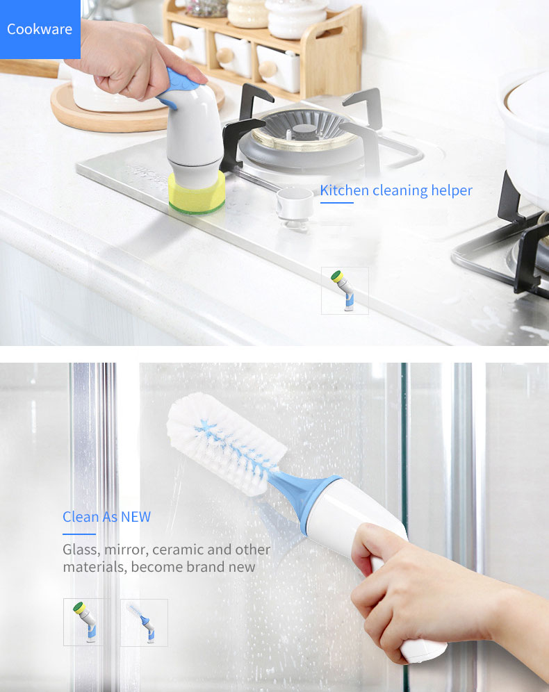 KCASA Electric Dish Scrubber Brush Cordless Handheld Power Bottle Brush Cleaner Set with Dish Scrubber Pads for Coffee/Tea Cup and Bottle Dishwasher