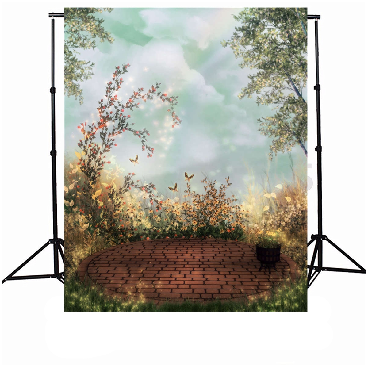 5x7ft Garden Vinyl Photography Background Cloud Children Photo Backdrop For Baby