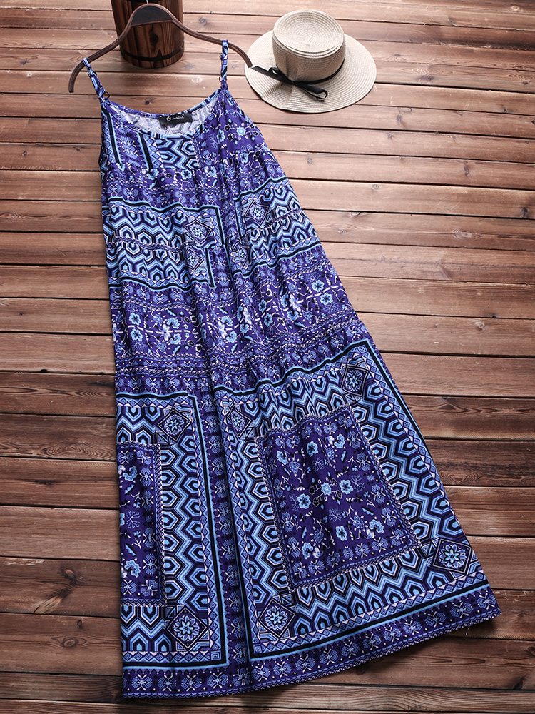 Plus Size Bohemian Floral Print Sleeveless Slip Dress