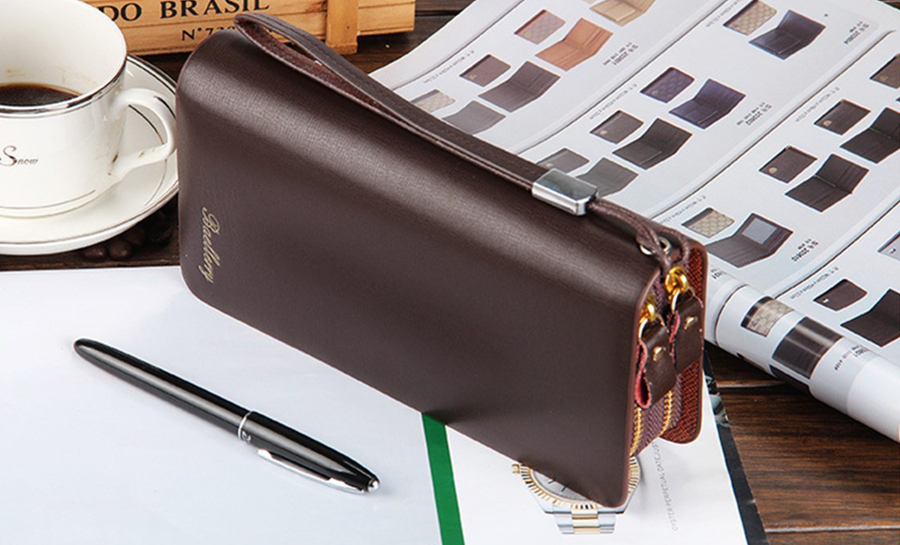 Multifunctional PU Leather Zipper Safety Rope Card Bag Clutch Long Purse Wallet Handbag Phone Bag
