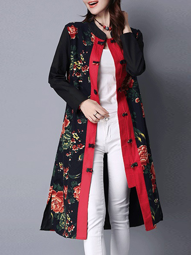 Vintage Chinese Style Flower Print Long Trench Coat