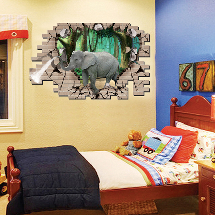 Creative Cartoon 3D Elephant PVC Broken Wall Sticker DIY Removable Decor Waterproof Wall Stickers Household Home Wall Sticker Poster Mural Decoration for Bedroom Living Room