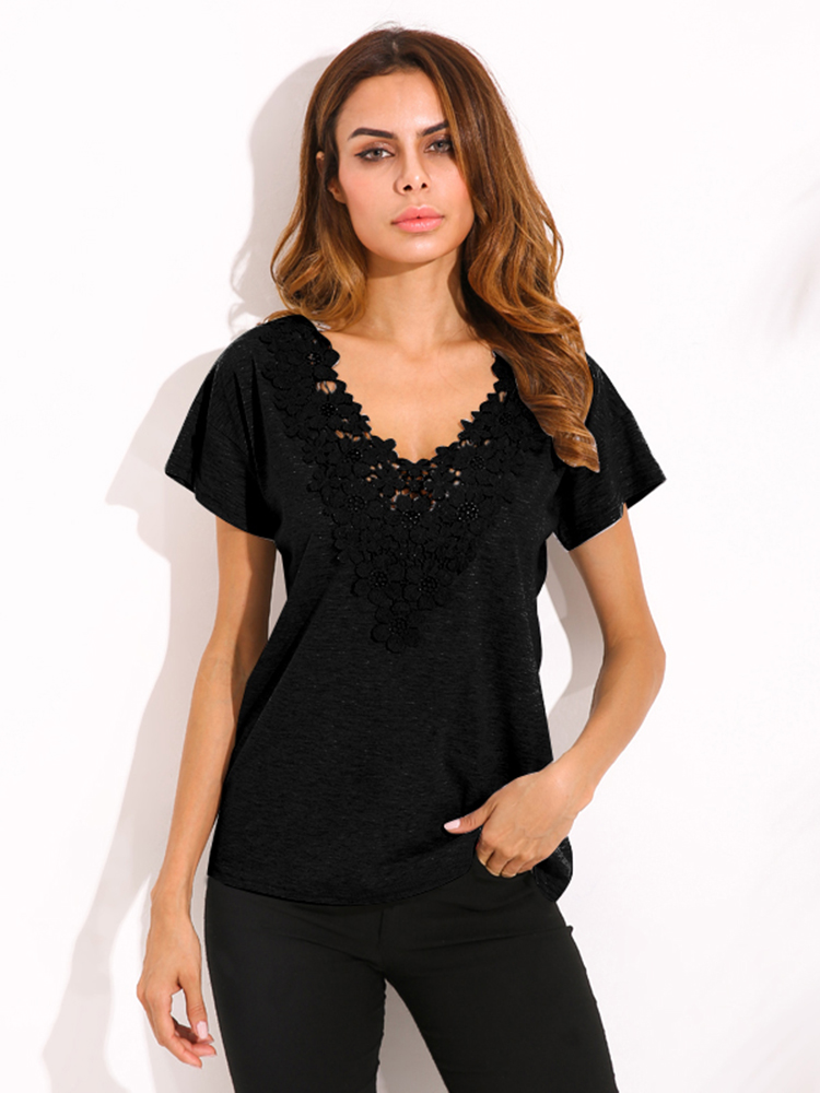 Plus Size S-5XL Women Sexy Crochet V Neck Top T-Shirt