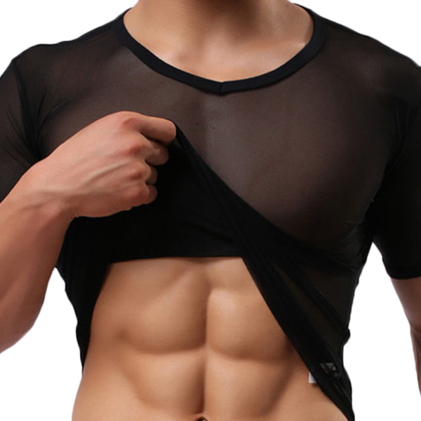Mens Tight Sexy Transparent Gauze T-shirt Breathable Sports Shorts Sleeved Tees