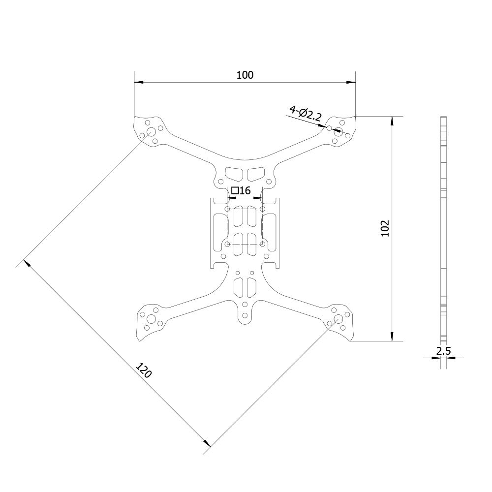 GEELANG Lightning 120X Spare Part 120mm Wheelbase Plate Board Carbon Fiber Bottom for RC Drone FPV Racing
