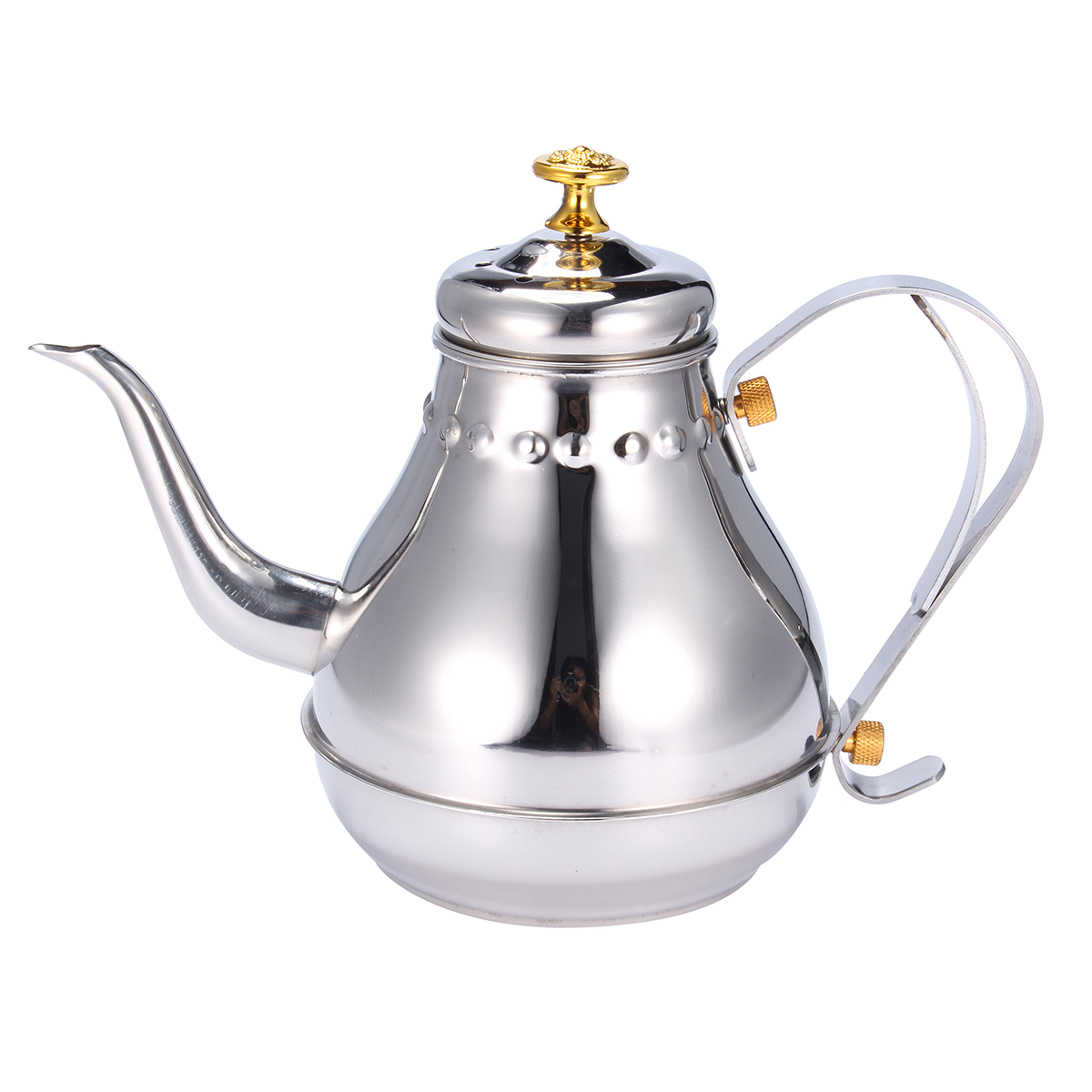 Silver 1.2L Capacity Stainless Steel Coffee Drip Kettle