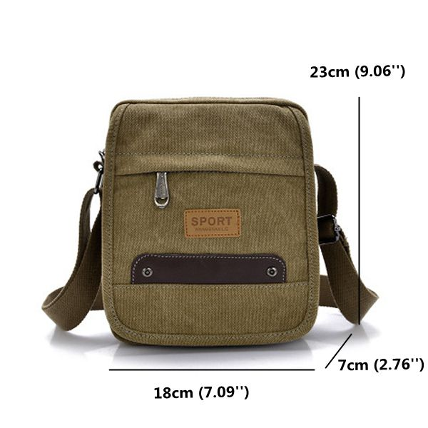 Men's Canvas Shoulder Bag Small Sling Bag Casual Crossbody Bag