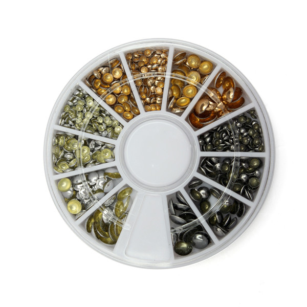 3 Colors Nail Art Decoration Wheel Half Round Flat Back Rivets Studs