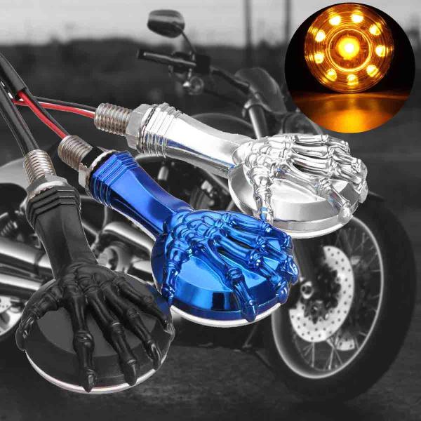 Pair Motorcycle LED Turn Signal Indicator Lights Amber 3D Skull Skeleton Lamps For Harley Custom