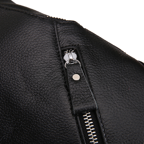 Men Genuine Leather Solid Retro Noble Crossbody Bag Chest Bag Casual Travel Zipper Shoulder Bag