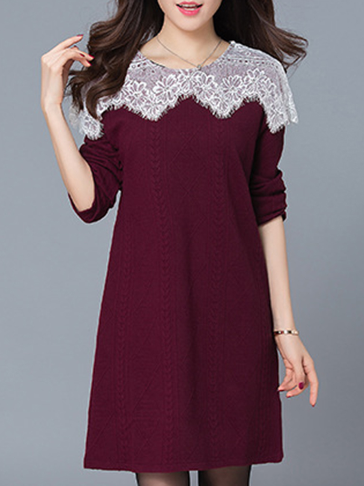 Casual Women O-Neck Loose Lace Patchwork Long Sleeve Dress