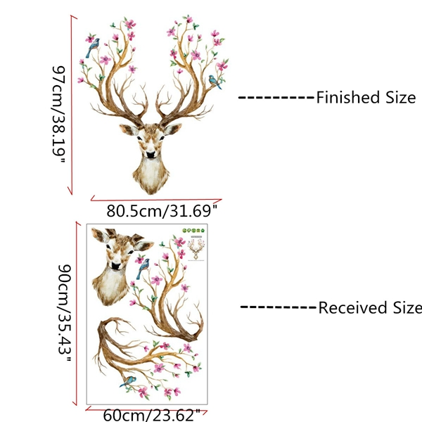 Xmas Reindeer Removable Mural Home Wall Stickers Decals Nursery Kids Room Decor