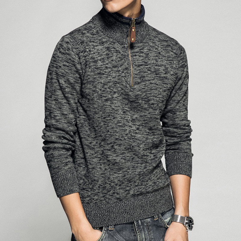 Mens Knitted Zipper Stand Collar Pullovers