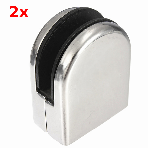 2Pcs Stainless Steel 304 Glass Clip Clamp Holder Flat for Handrail Window