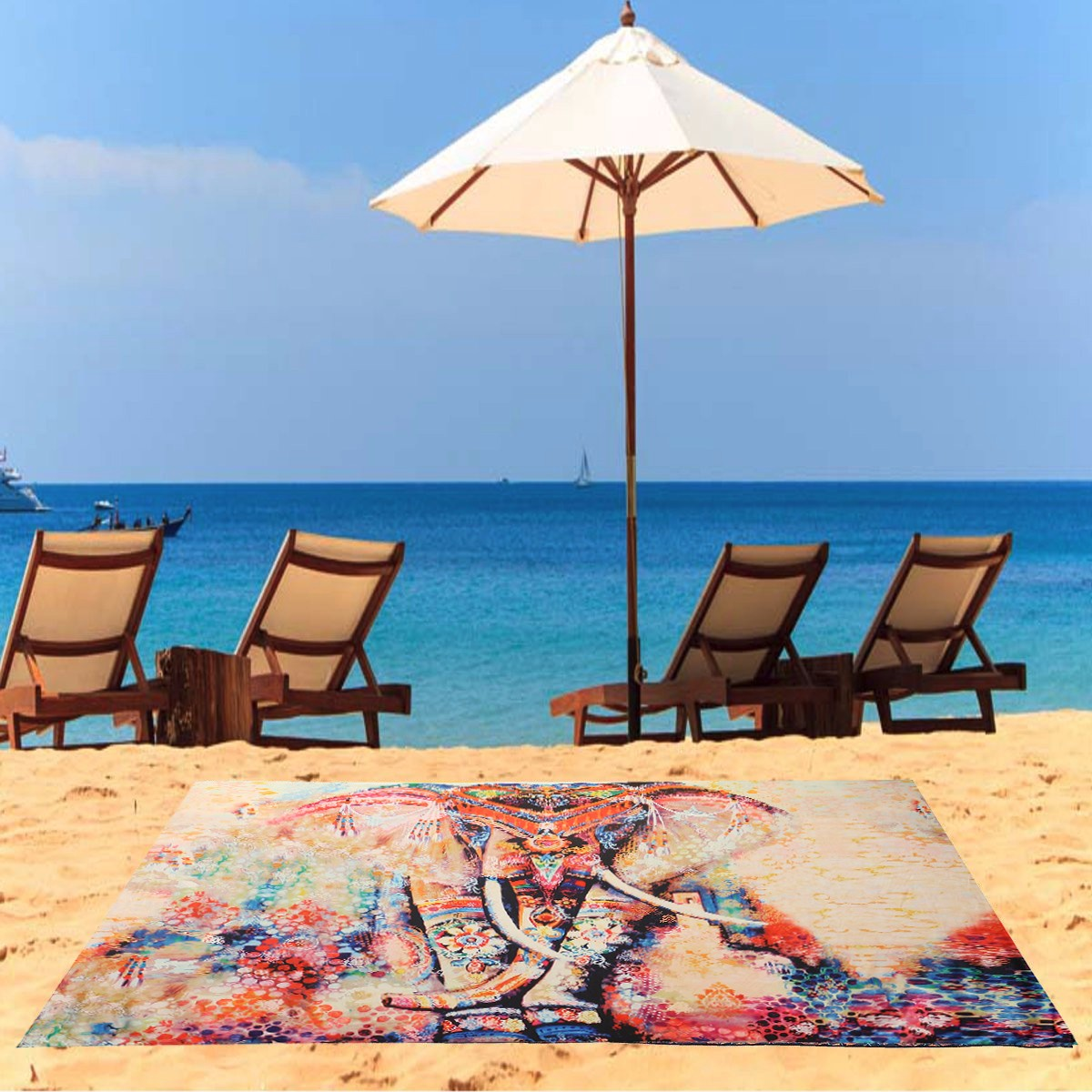 Indian Polyester Beach Yoga Towel Wall Hanging Blanging Elephant Bed Sheet Tapestry Tablecloth