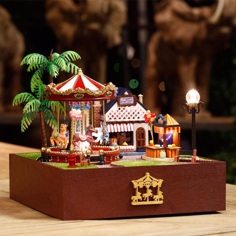 Dollhouse Miniature Playground Carousel Model DIY KIT Music Box With Light