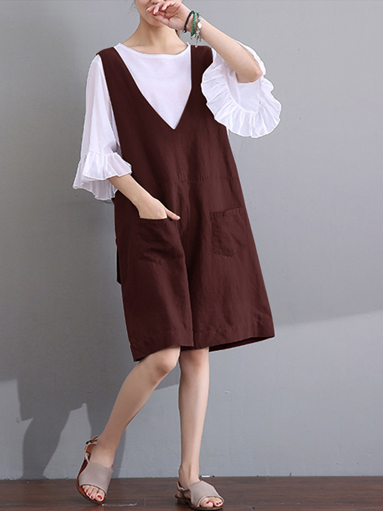 Women Straps V Neck Jumpsuits Casual Loose Overalls