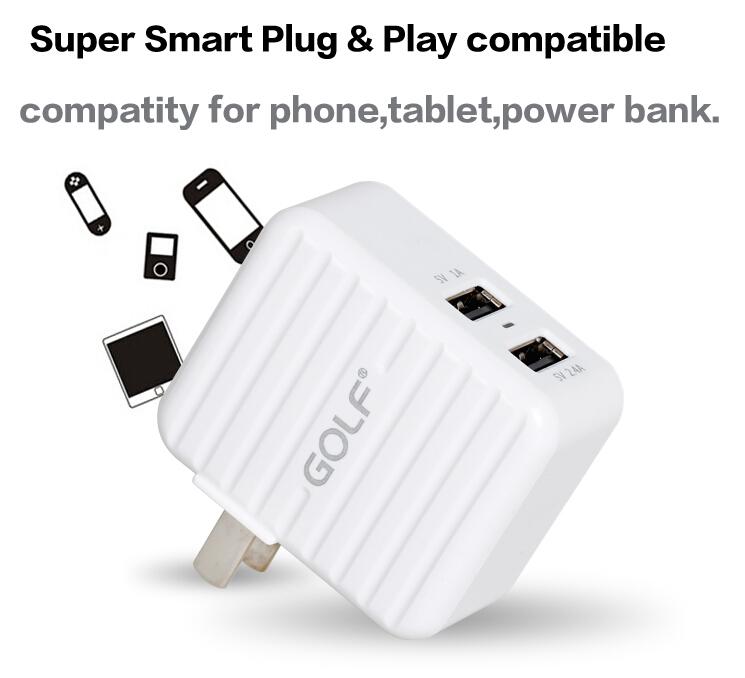 Original Golf Dual USB Ports 3.4A Universal Charger For Samsung iPhone iPad Huawei Xiaomi HTC LG Sony Doogee