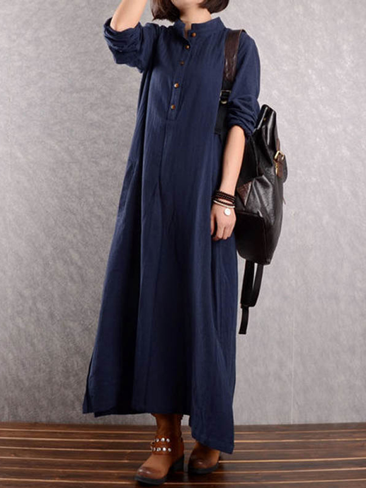 Women Long Sleeve Button Down Loose Maxi Dresses