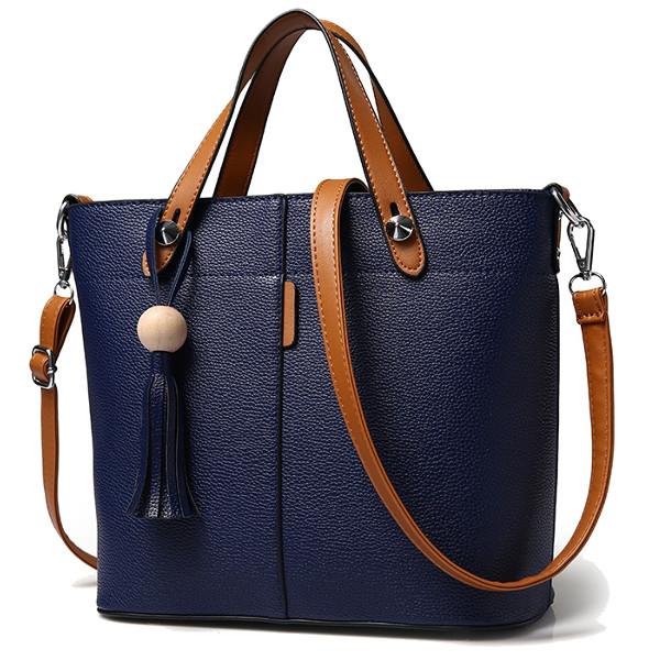 Women PU Leather Tassel Tote Handbags Vintage Shoulder Bags Capacity Crossbody Bags