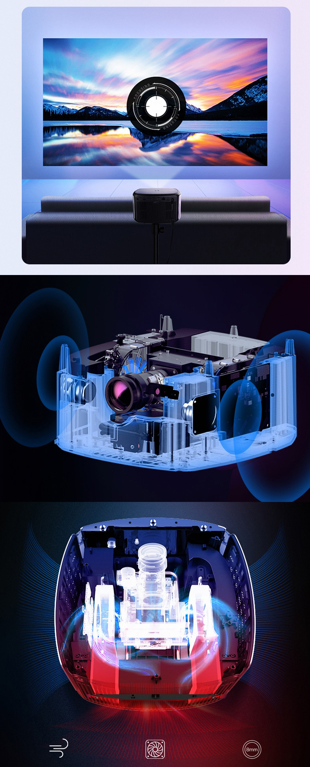 JmGO X3 DLP Projector Android 2G+16G 1500 ANSI Lumens 3840*2160 Native Resolution 4K LED Support 3D Home Theater Projector-Chinese Version