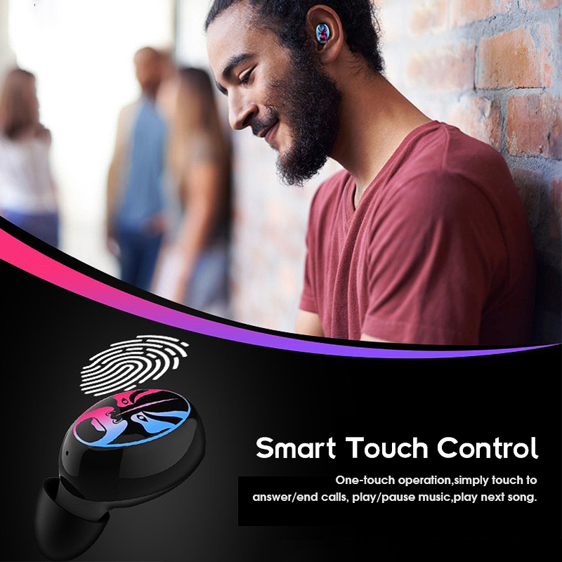TWS Breathing Light bluetooth 5.0 Wireless Earbuds HIFI Bass Smart Control Noise Cancelling Earphone