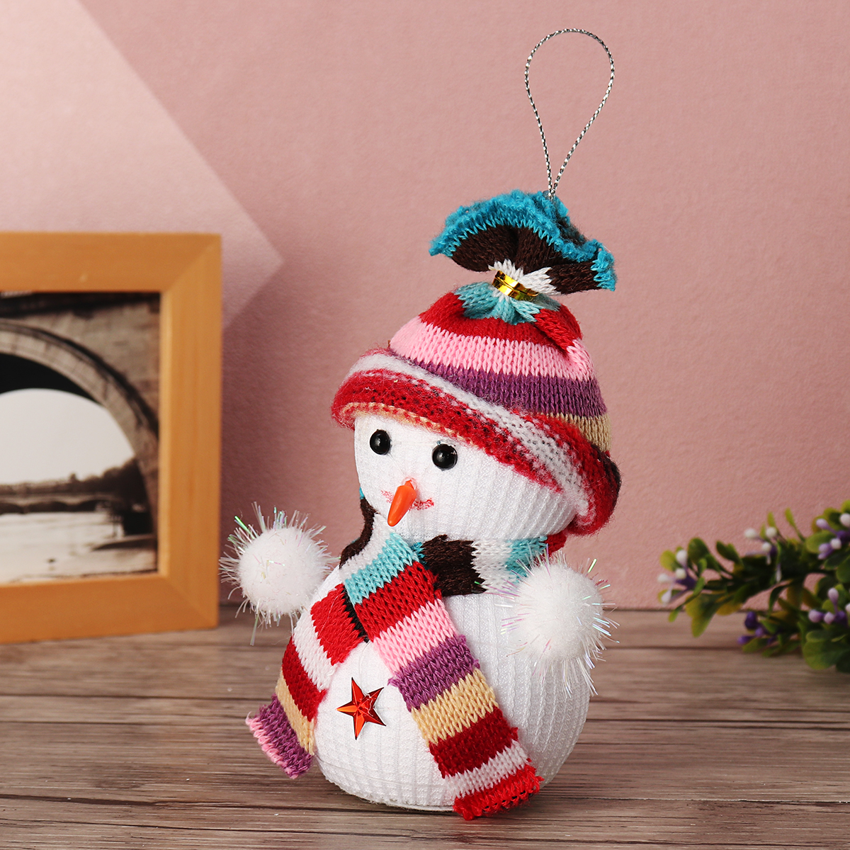 Lovely Snowman Christmas LED Night Light Glass Dome Bell Jar with Glass Cover Wooden Base Decor
