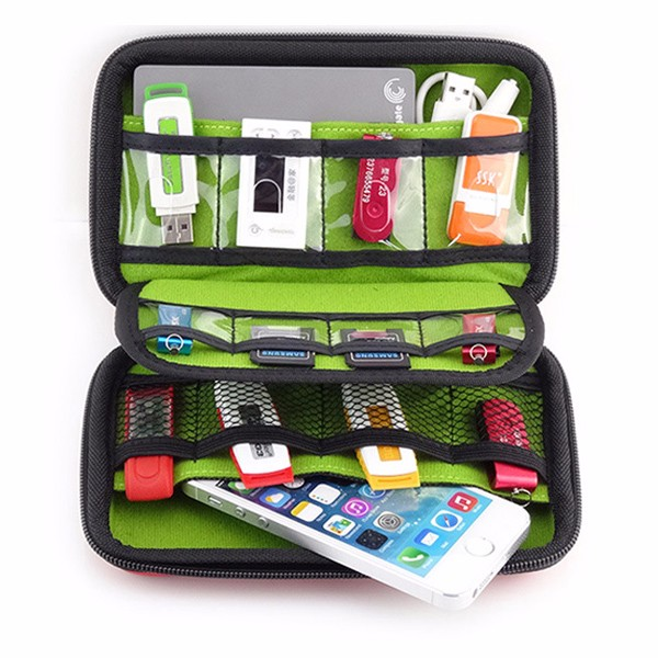 External Battery USB Flash Drive Earphone Digital Gadget Pouch Travel Silver Storage Bag