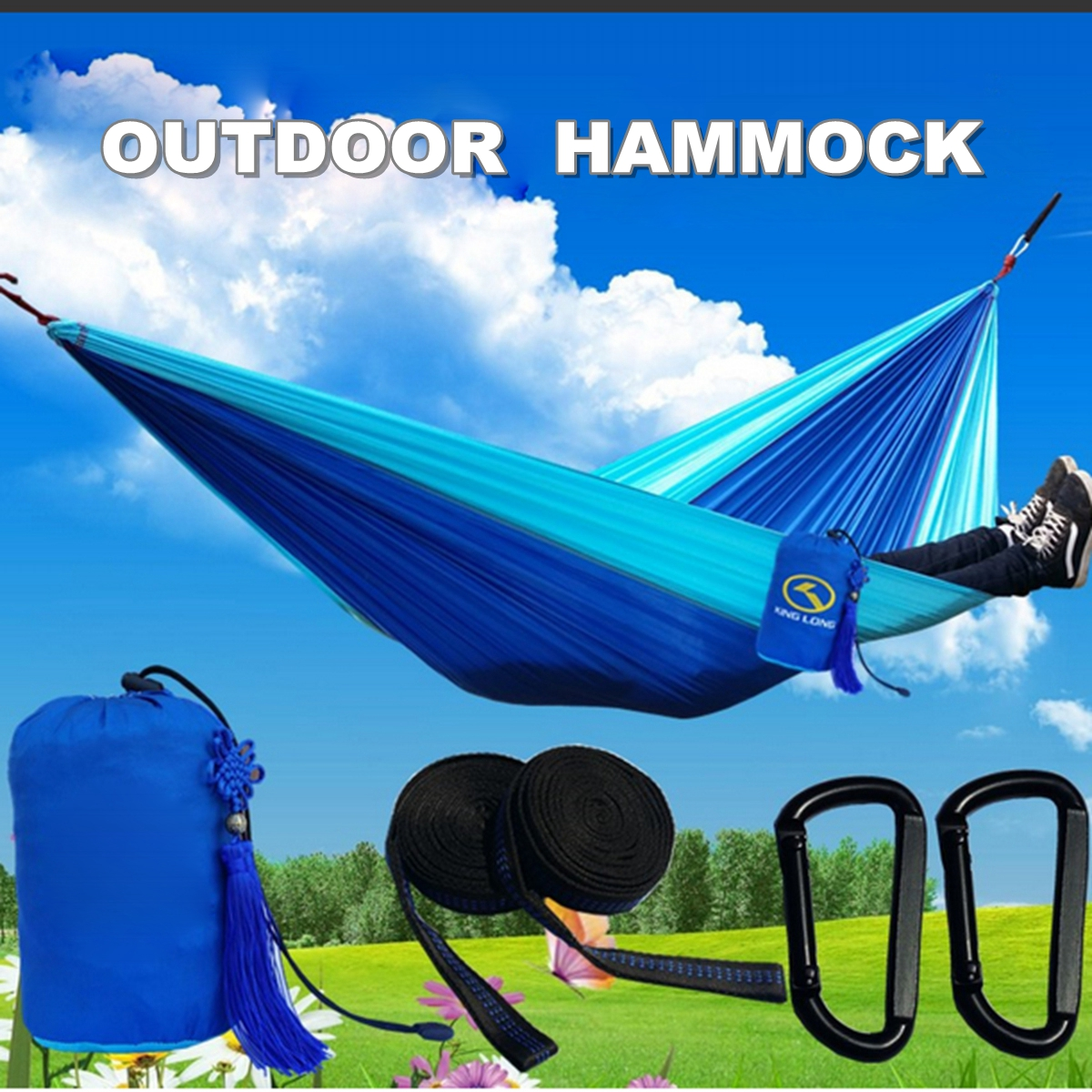 IPRee™ Portable Swing Hammock Camping Travel Patio Yard Hanging Canvas Tree Bed Max 300kg