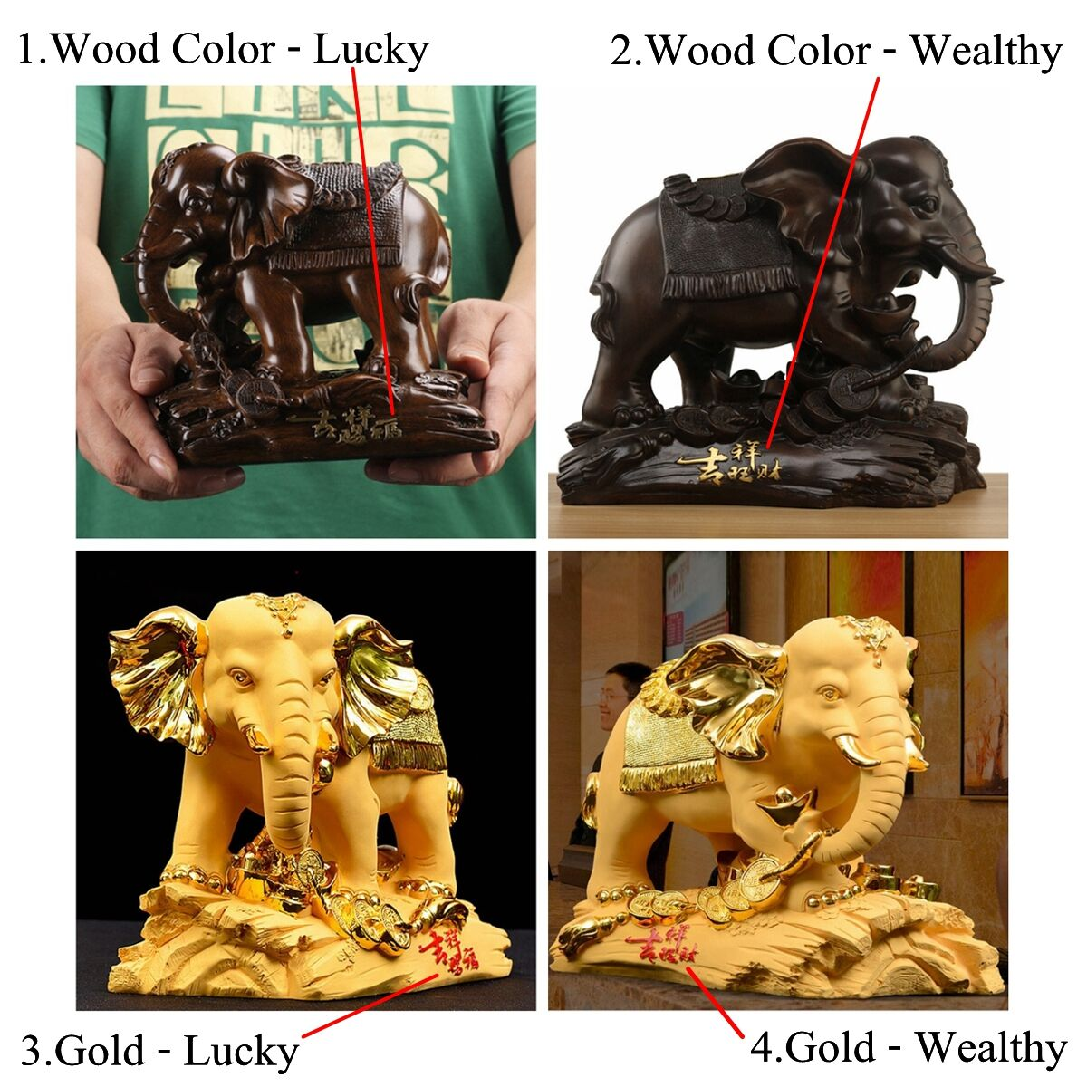 Traditional Chinese Resin Mascot Lucky Wealthy Elephant Statue Sculpture Living Room Decorations