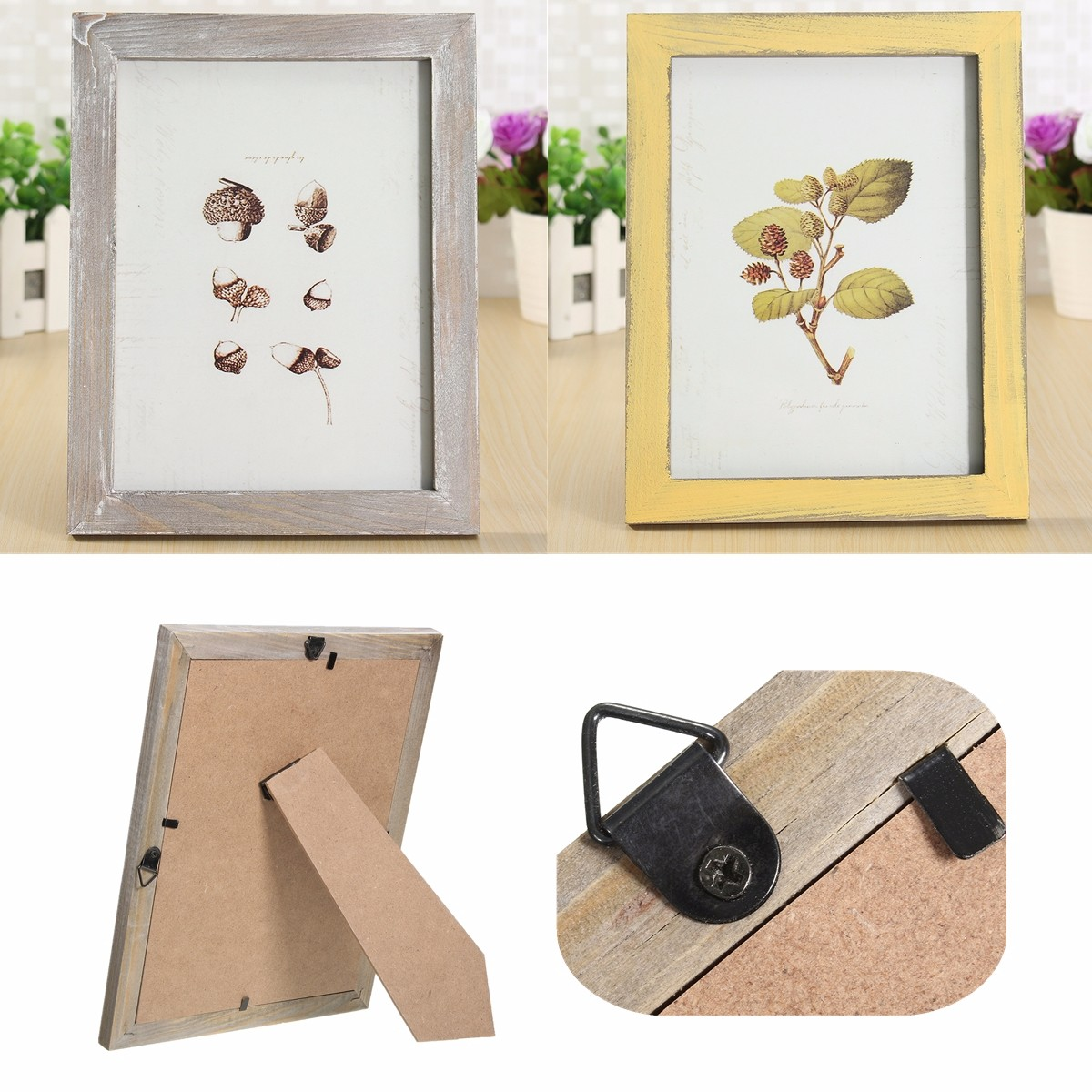 8 inch Vintage Solid Wood Photo Picture Frame Wall Hanging Shabby Chic Room Decoration