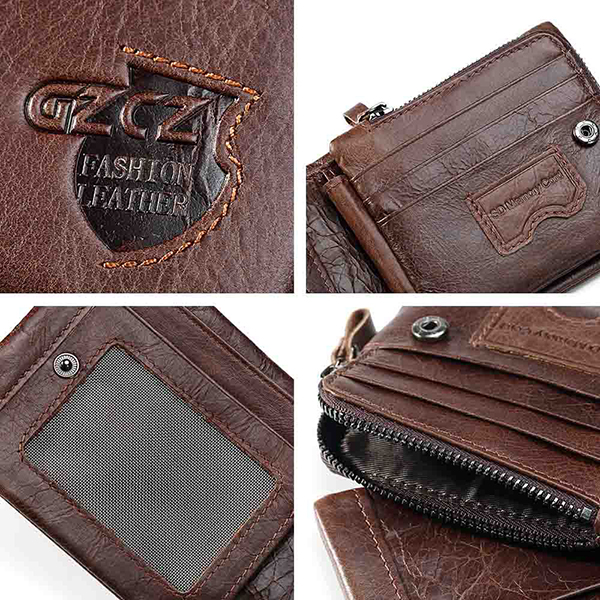 Vintage Genuine Leather 11 Card Slots Coin Bag Trifold Walle
