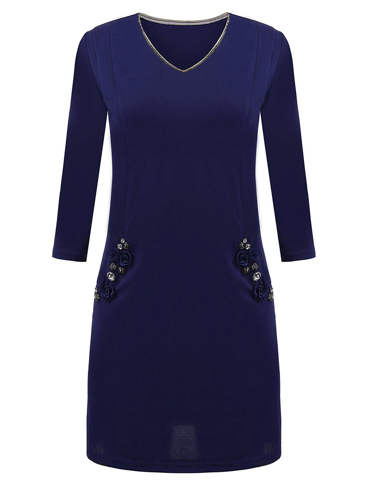 Sexy Women Solid V Neck Three Quarter Sleeve Bead Pocket Dress