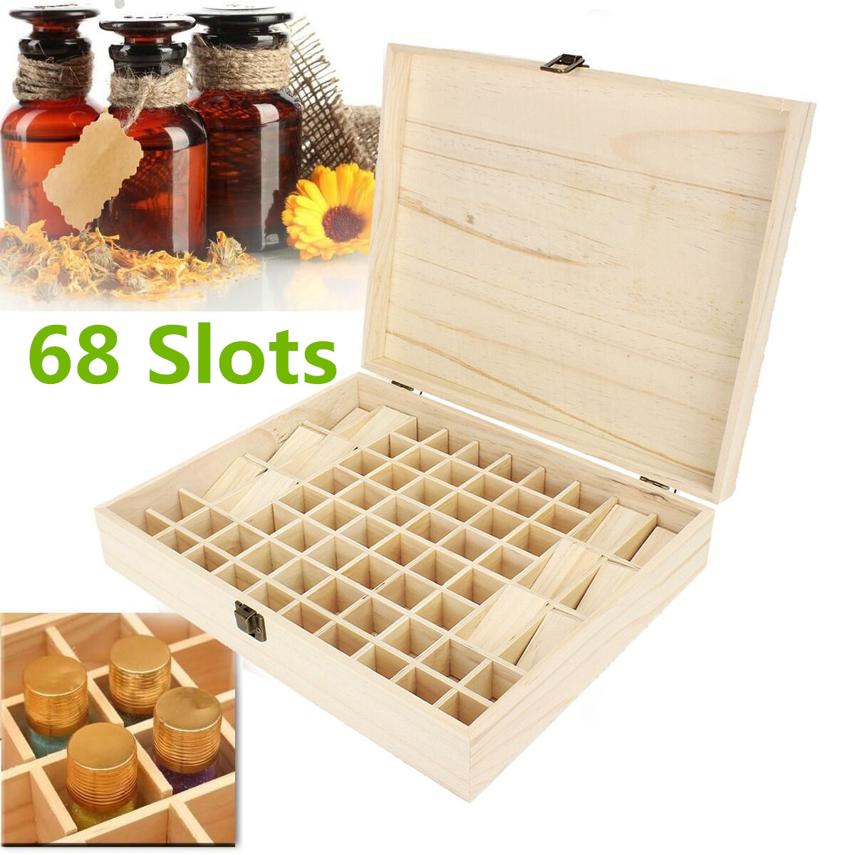 Essential Oil Case Holds 68 Bottles Wooden Storage Box Container Aromatherapy Collecetion Organizer