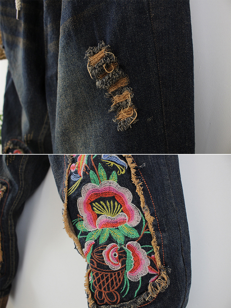 Flower Embroidered Patchwork Jeans