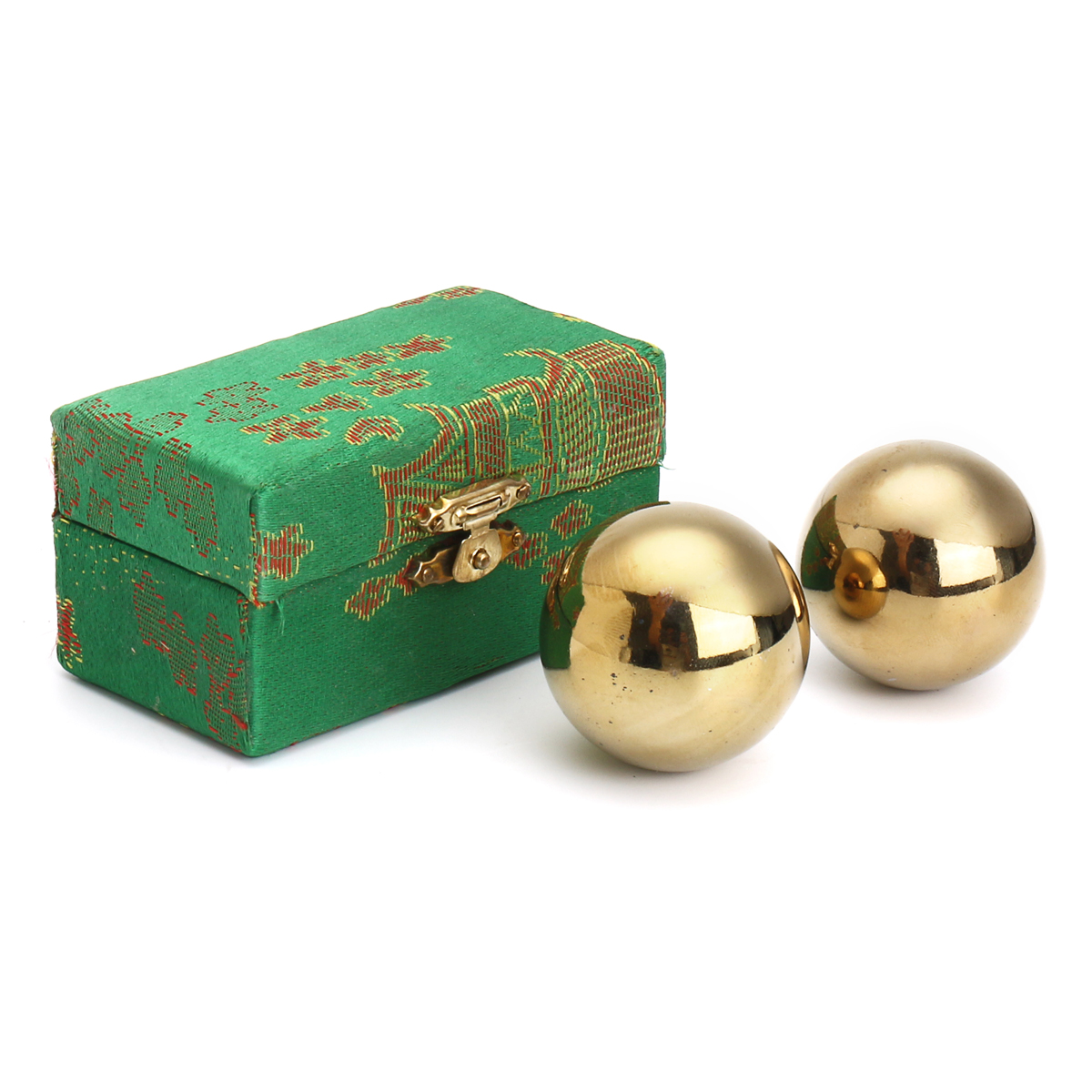 Golden Chinese Healthy Exercise Stress Massage Metal Balls With Box Baoding