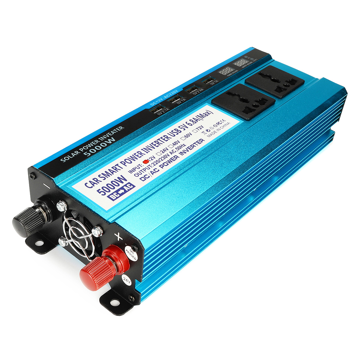 2200W Peak Solar Power Inverter Dual LED Screens 12V/24V DC to 220V AC Modified Sine Wave Converter