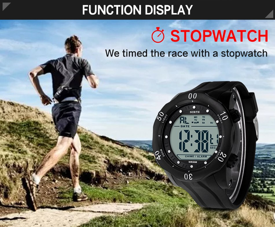 NORTH 2003 Sport Alarm Stopwatch Men Digital Watch