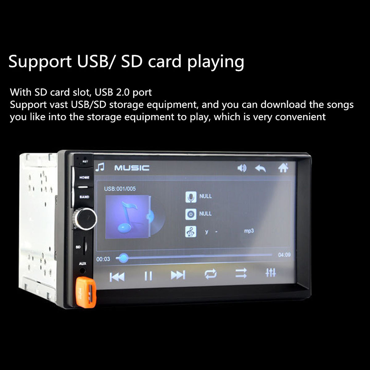 7 Inch 2 Din Car MP5 Player Stereo Radio 1080P Touch Screen FM AUX SD bluetooth with Rear View Camera