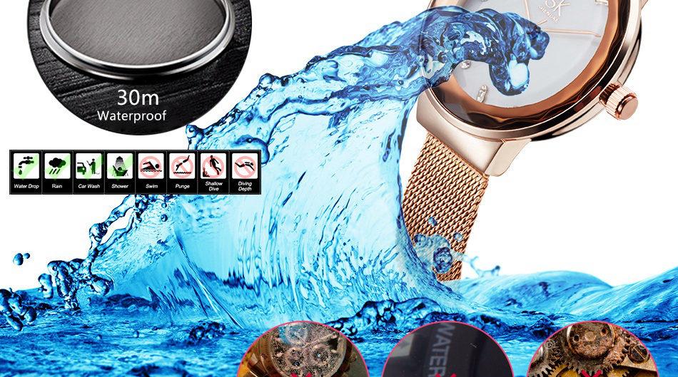 SK K0038L Moden Design Dial Case Stain Ladies Wrist Watch