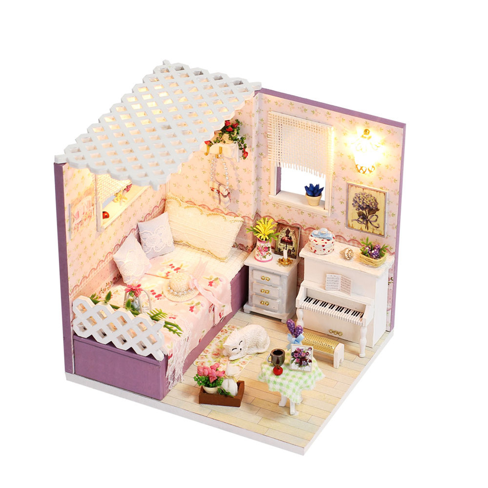 iiecreate M-007 Gloomy Sunday DIY Doll house With Furniture Light Cover Gift House Toys