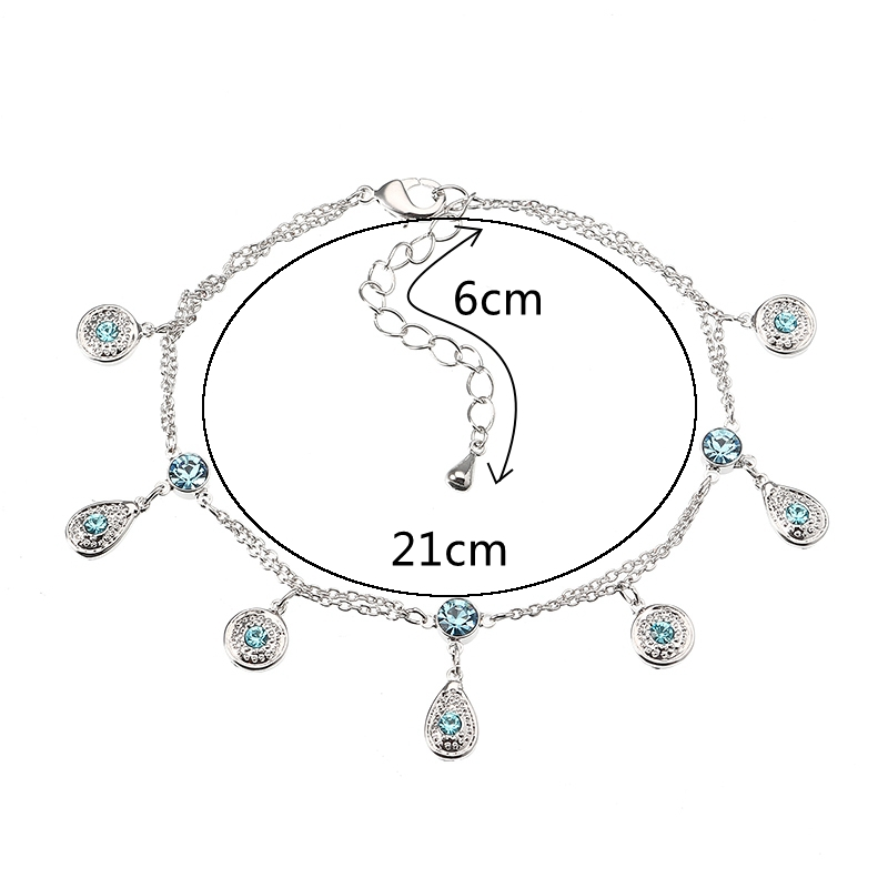 JASSY® Fine Anklet Platinum Plated Lake Blue Rhinestone New Fashion Bracelet Jewelry for Women
