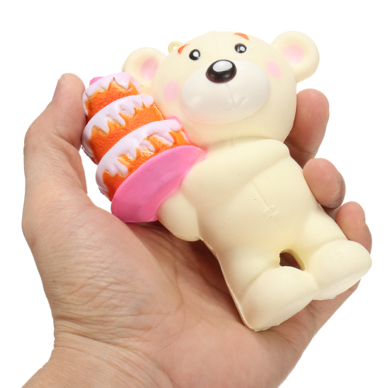 SquishyShop Bear Holding Cake 12cm Soft Squishy Slow Rising With Packaging Collection Gift Decor Toy