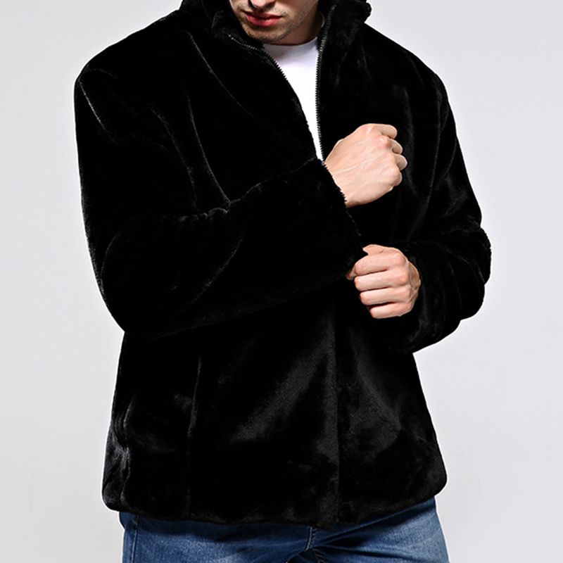 Mens Faux Fur Coat Winter Warm Stand Collar Trendy Jacket
