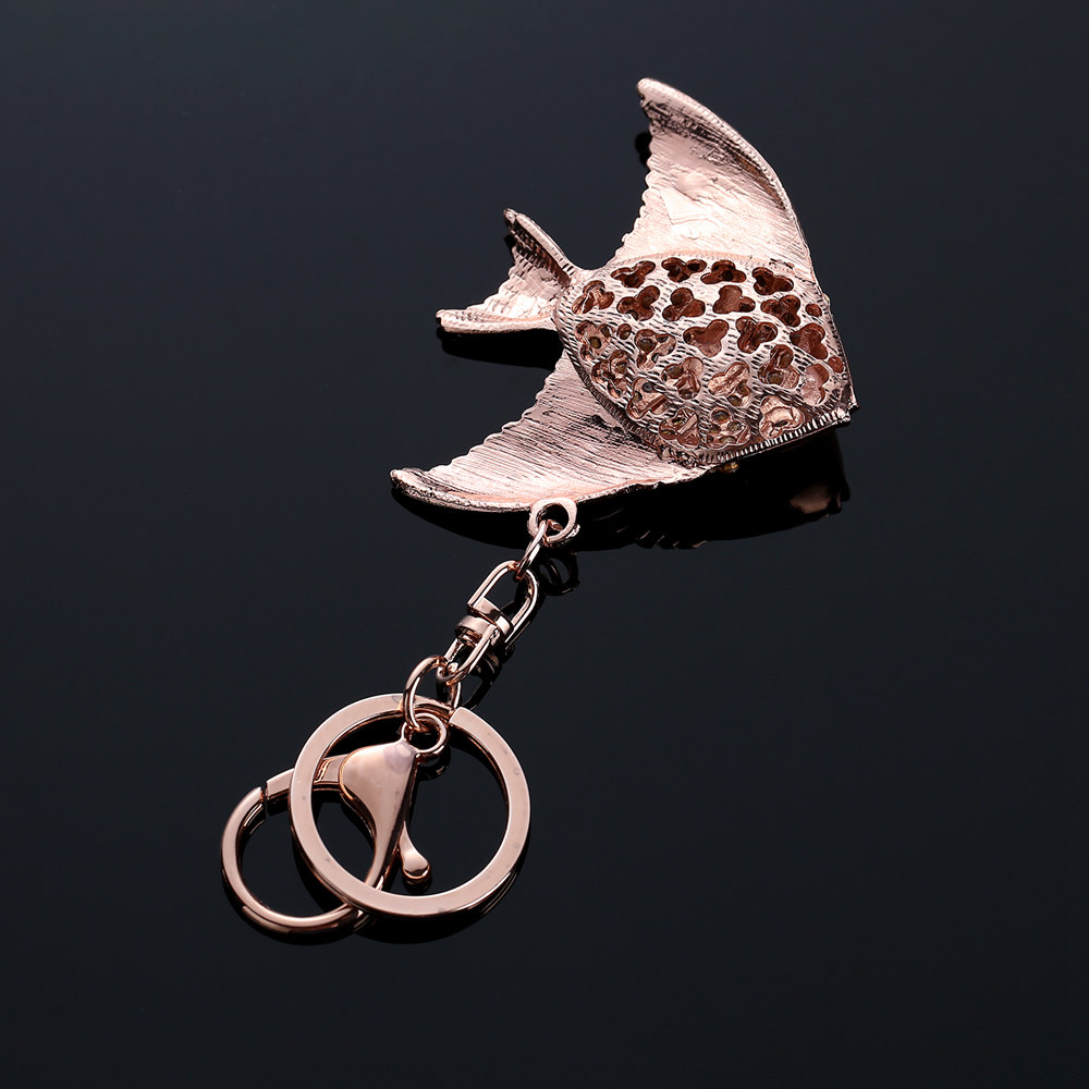 Vintage Fish Crystal Keychain Rings Holder Purse Bag Buckle