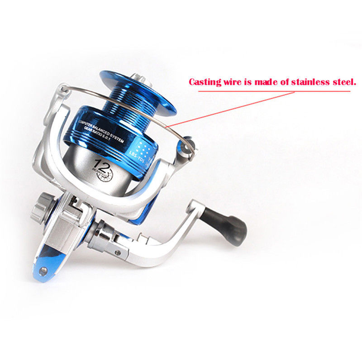 ZANLURE CF1000-7000 5.2:1 12BB Metal Spinning Fishing Reel Saltwater Freshwater Fishing Wheel