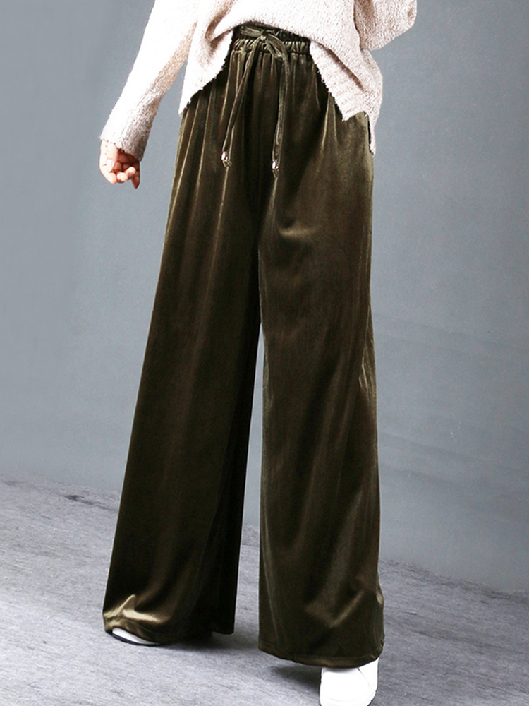XL-4XL Women High Elastic Waist Velvet Wide Leg Pant
