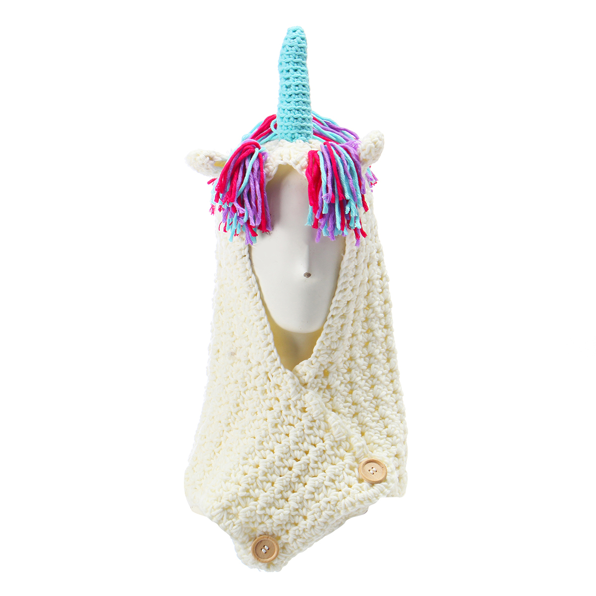 Unicorn Winter Pink Kintted Hat Hooded Scarf Earflap Knitted Cap Xmas Gift Kids / Boy / Girl