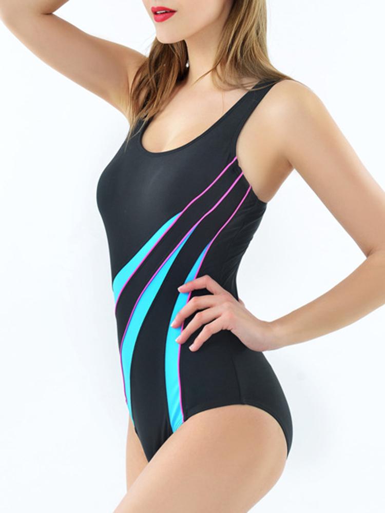 Banggood Professional Sport Tight U Neck Women One Piece Swimwear Back Hollow Elasticity Swimwear